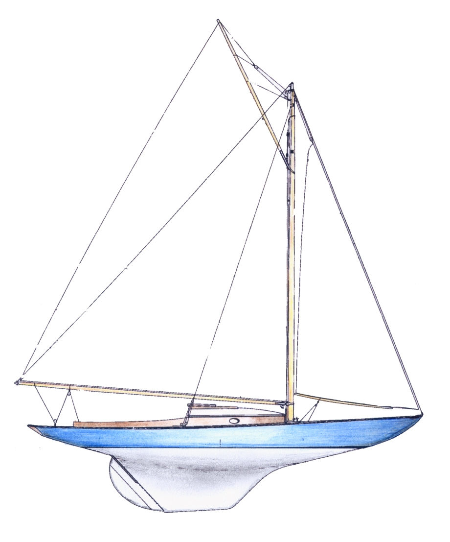 Dark Harbor 17 classic gentleman's gaff rigged wooden one design day boat designed by B. B. Crowninshield