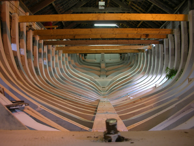 Frames of wooden boat Ilen taken by Tiernan Roe of Roeboats custom boat builders