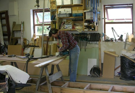 Cutting out the frames fro a 16 foot wooden sharpie sailboat custom built by Roeboats Co. Cork Ireland