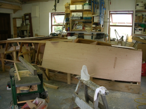 Planking wooden 16 foot lugsail yawl sharpie Catbird 16 by Roeboats, cork Ireland, for sale