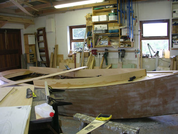 Start of coaming on catbird 16 foot wooden sharpeis dayboat built by roeboats Ballydehob, Ireland for sale