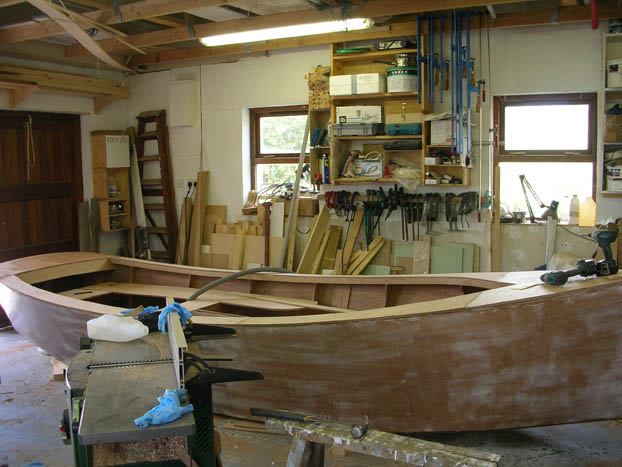 Deck on catbird 16 foot wooden lugsail yawl sharpie built by Roeboats, West Cork Ireland for sale