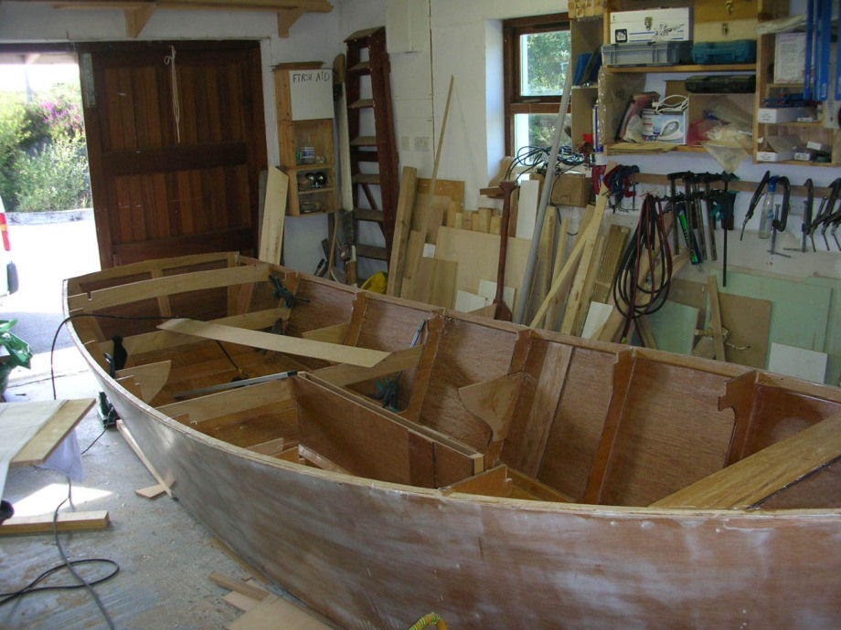 Fitting out the interior of a 16 foot sharpei lug sail yawl by Roeboats, Ballydehob, Ireland, for sale
