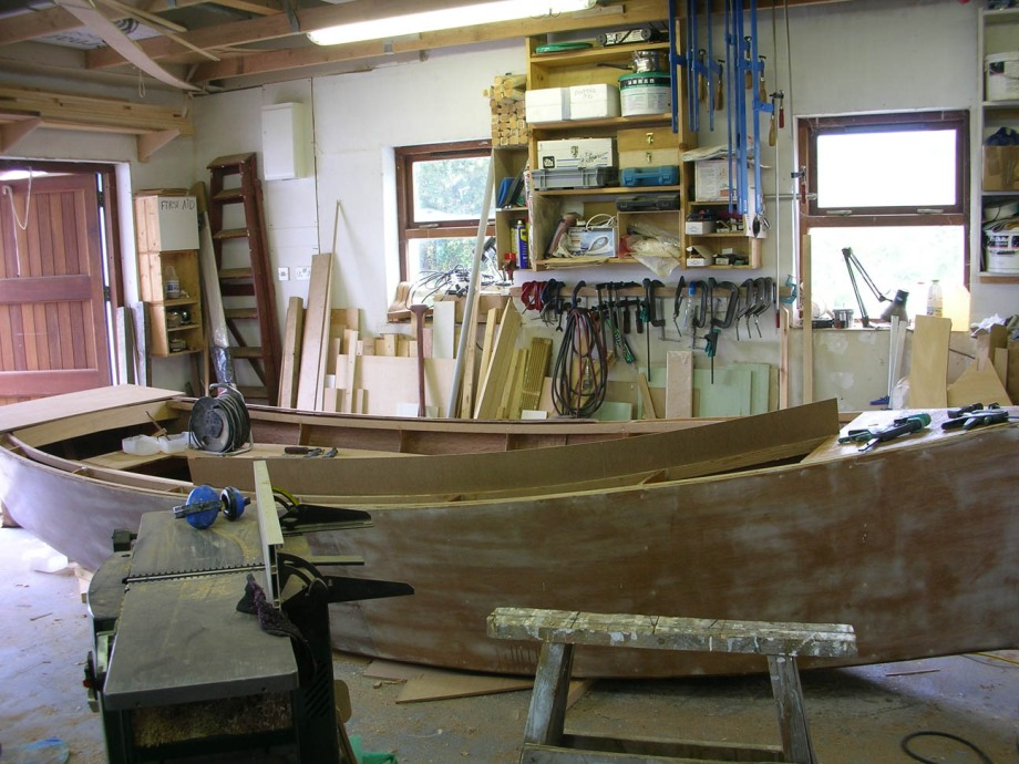 Coaming template on 16 foot lugsail sharpie yawl by Roeboats West Cork Ireland