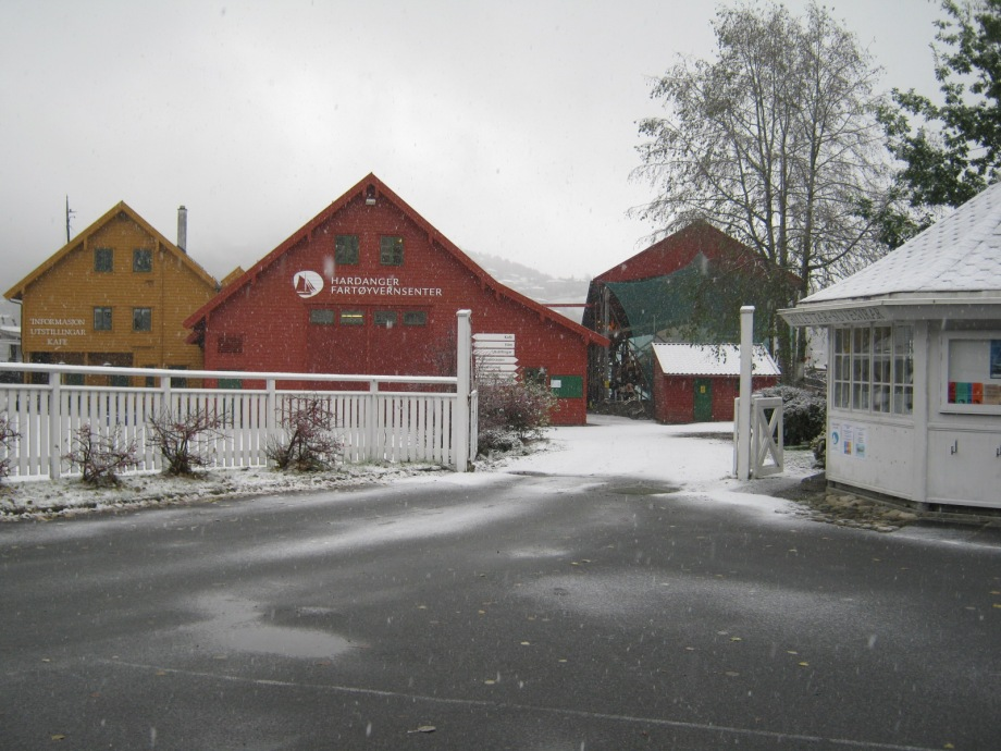 Hardanger ship preservation centre in the snow during visit of Tiernan Roe of Roeboats