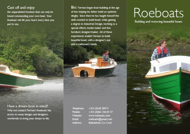 Page2 of print brochure for Roeboats custom wooden boat builder