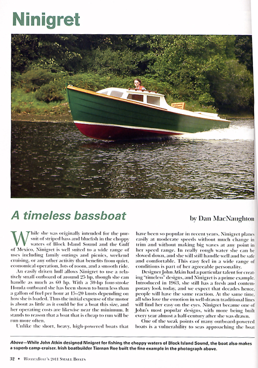 Article extract from Woodenboat's Small boats 2011 featuring Roeboats