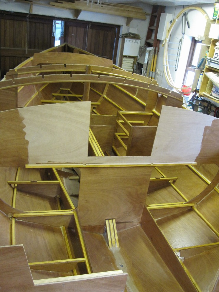 Interior of Gaff Cutter epoxy coated