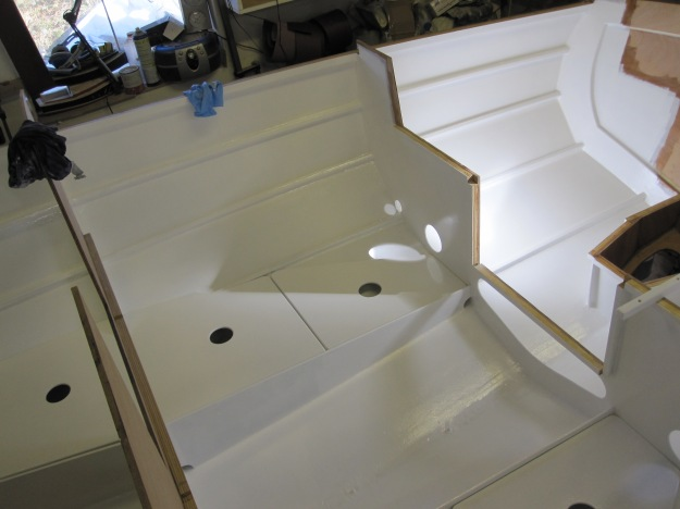 Epoxy coating and painting interior of 21′ Cape Henry Gaff Cutter | Wooden boat builder, Boat ...