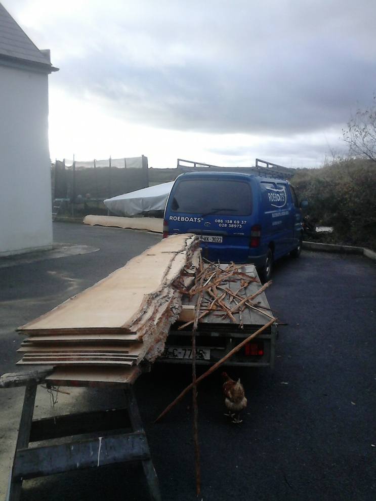 Pile of wood for planking 16' wooden dinghy
