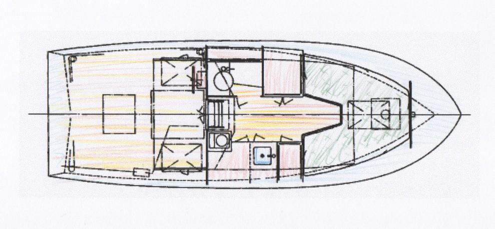 24' Motorsailor interior