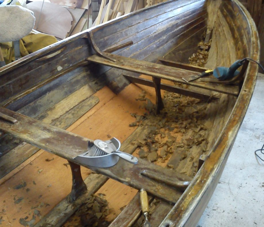 Stripping the inside of a Rankin Dinghy